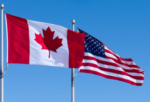 CANADA UNITED STATES FLAGS