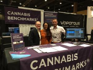 Cannabis Benchmarks CEO, Jonathan Rubin (left) at Cannabis Benchmarks Expo Booth