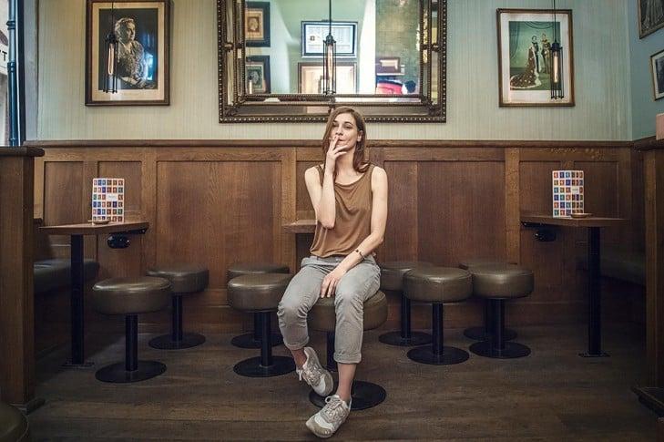 Woman smoking cannabis in amsterdam